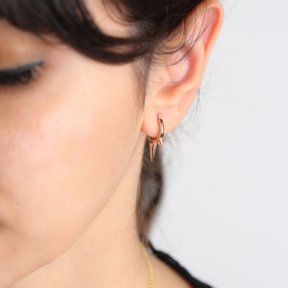 Dainty Pointed Silver Hoop Earring, Turkish Wholesale 925 Sterling Silver Earring