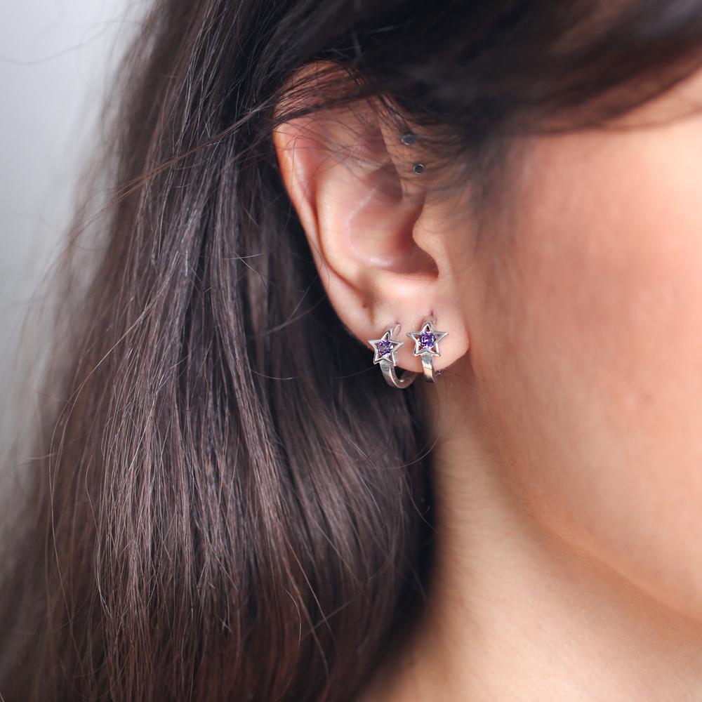 Amethyst Zircon Stone Star Earring Wholesale 925 Sterling Silver Jewelry