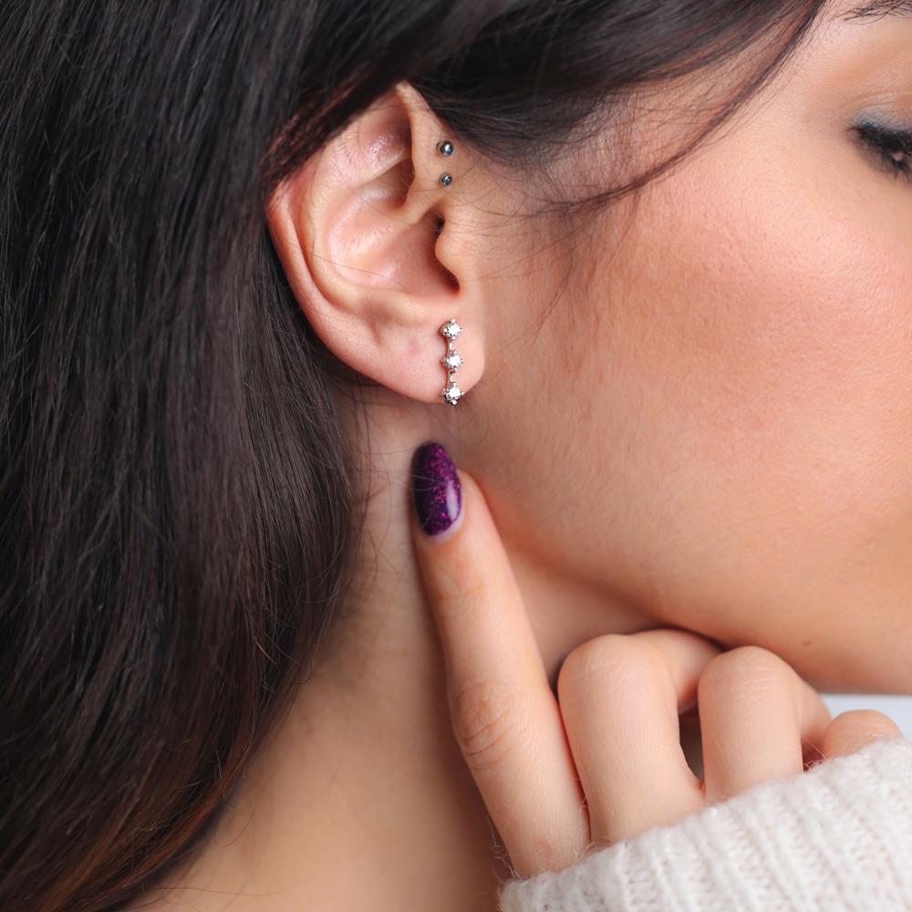 Minimalist Dainty Zircon Earring Turkish Wholesale 925 Sterling Silver Jewelry
