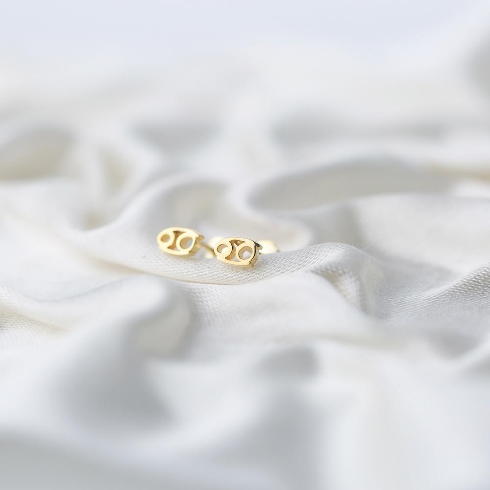 Cancer Zodiac Mini Stud Earring Turkish Handmade 925 Sterling Silver Jewelry