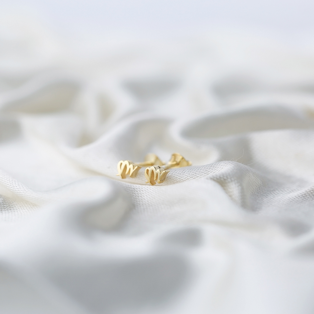 Virgo Zodiac Mini Stud Earring Turkish Handmade 925 Sterling Silver Jewelry