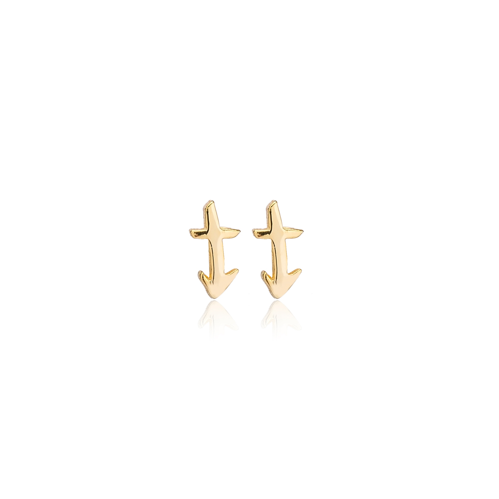 Saggitarius Zodiac Mini Stud Earring Turkish Handmade 925 Sterling Silver Jewelry