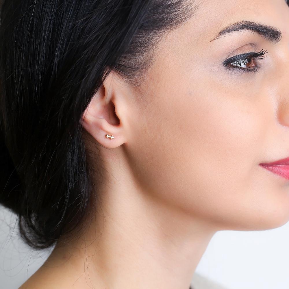 Saggitarius Zodiac Mini Stud Earring Turkish Handmade 925 Sterling Silver Jewelry