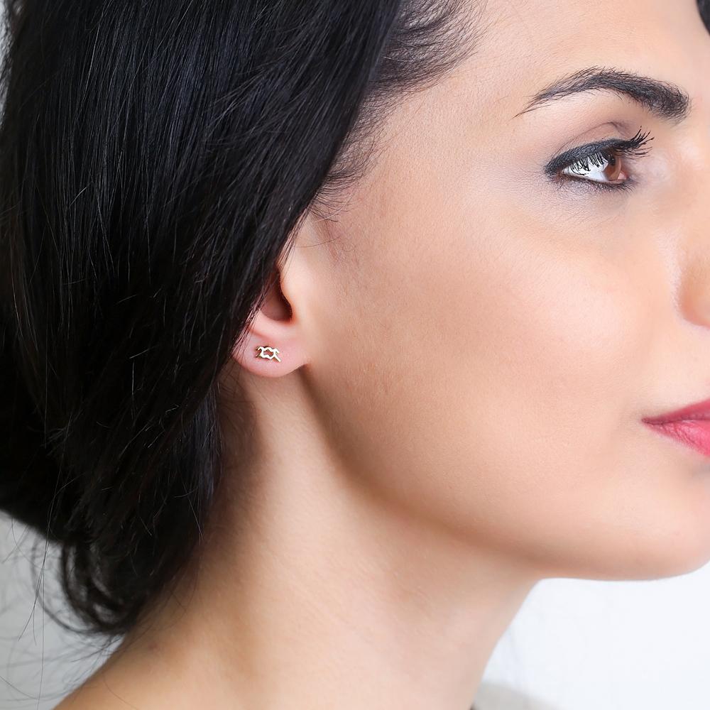 Aquarius Zodiac Mini Stud Earring Turkish Handmade 925 Sterling Silver Jewelry