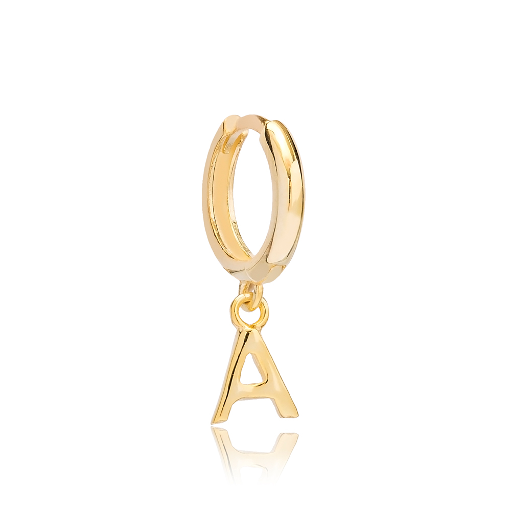 Initial Alphabet letter A Charm  Ø 7.5mm Hoop Dangle Earrings Wholesale 925 Sterling Silver Jewelry