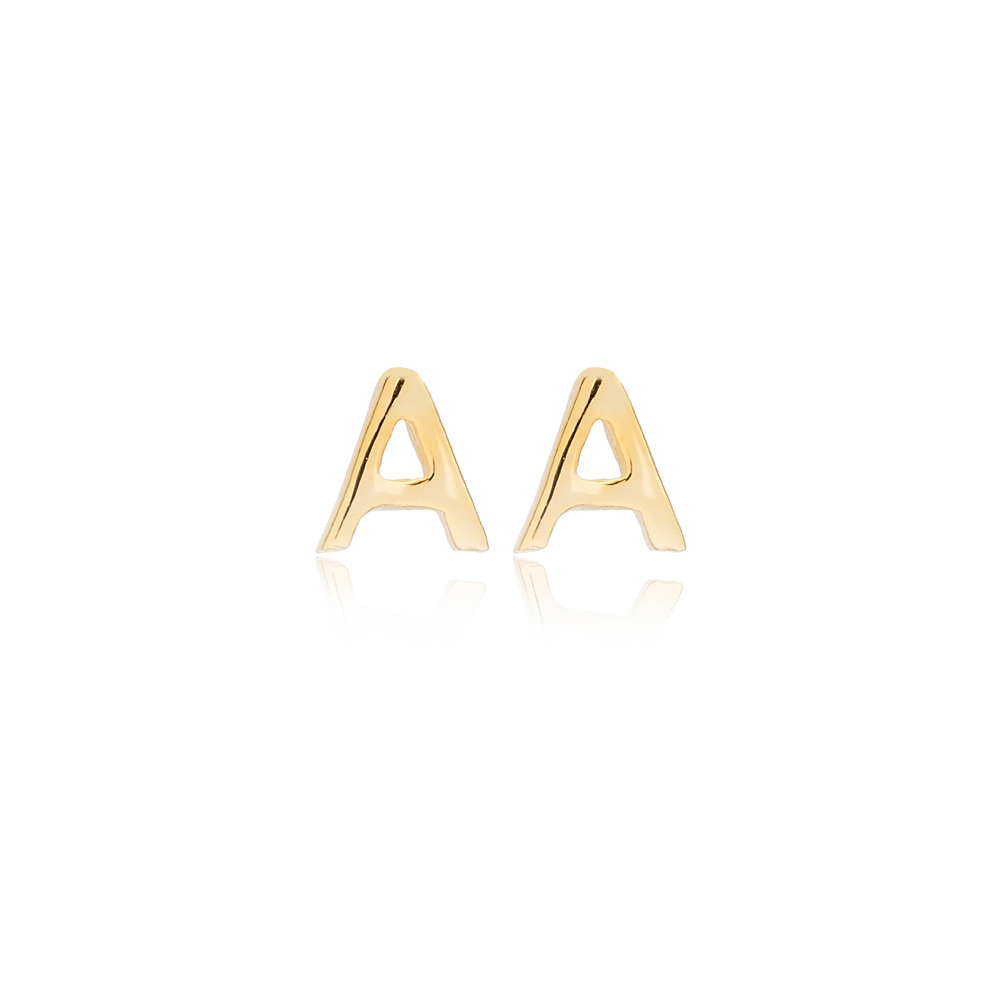 Minimalistic Initial Alphabet letter A Stud Earring Wholesale 925 Sterling Silver Jewelry