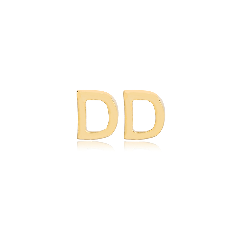 Minimalistic Initial Alphabet letter D Stud Earring Wholesale 925 Sterling Silver Jewelry