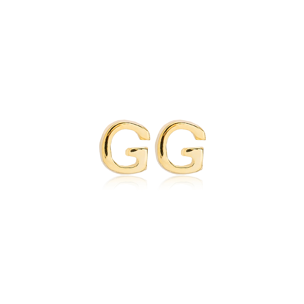Minimalistic Initial Alphabet letter G Stud Earring Wholesale 925 Sterling Silver Jewelry