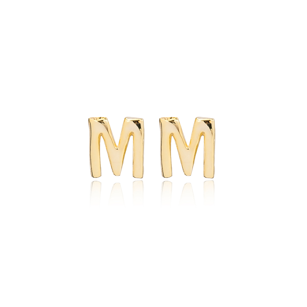 Minimalistic Initial Alphabet letter M Stud Earring Wholesale 925 Sterling Silver Jewelry