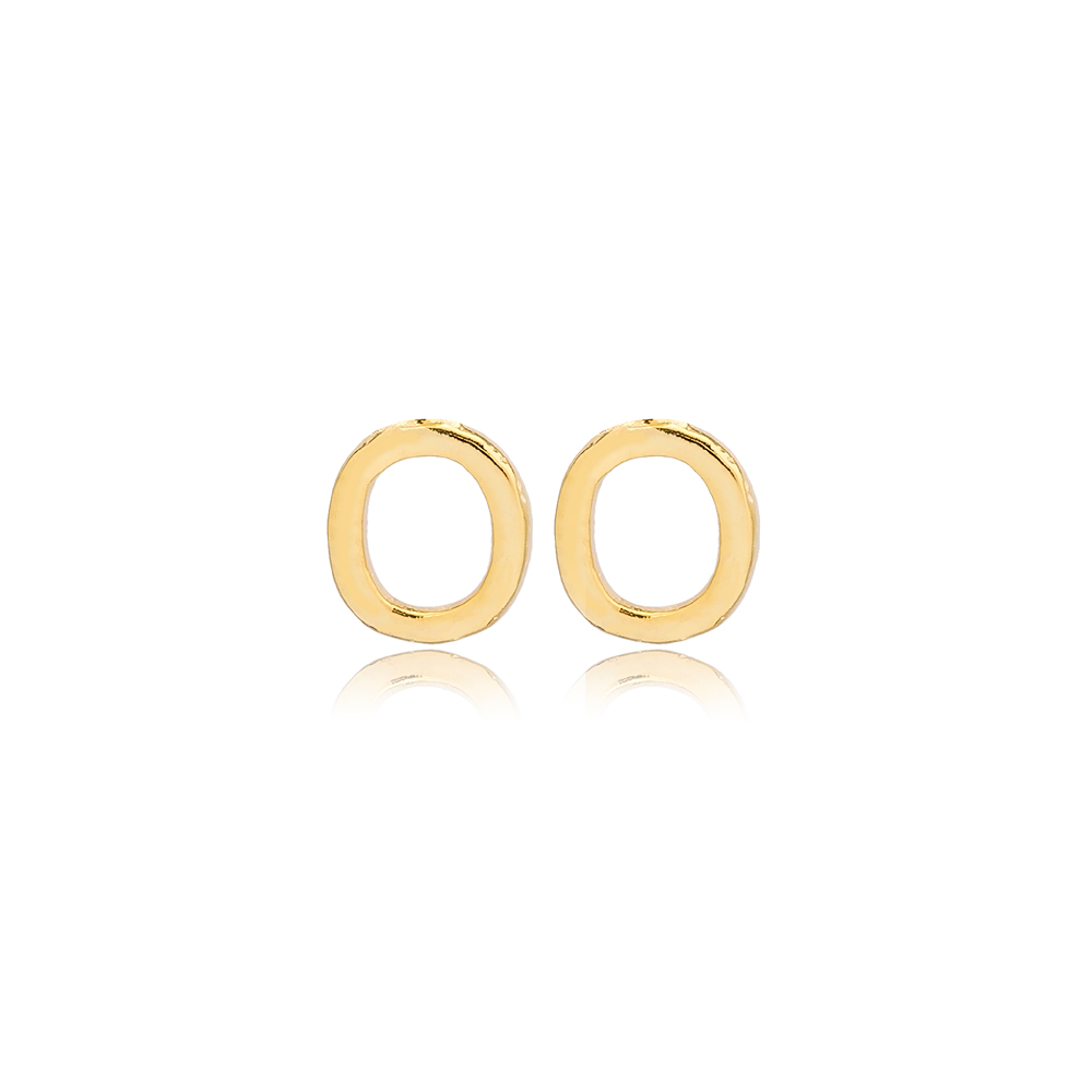 Minimalistic Initial Alphabet letter O Stud Earring Wholesale 925 Sterling Silver Jewelry