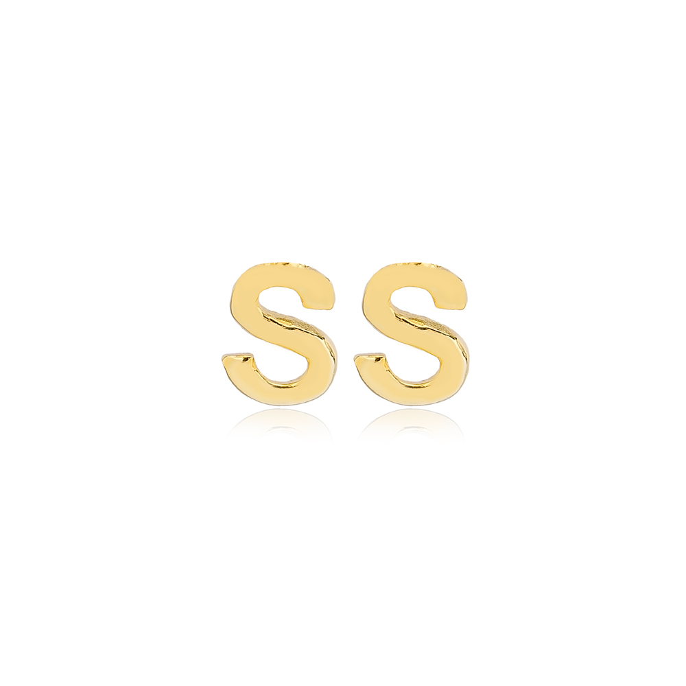Minimalistic Initial Alphabet letter S Stud Earring Wholesale 925 Sterling Silver Jewelry