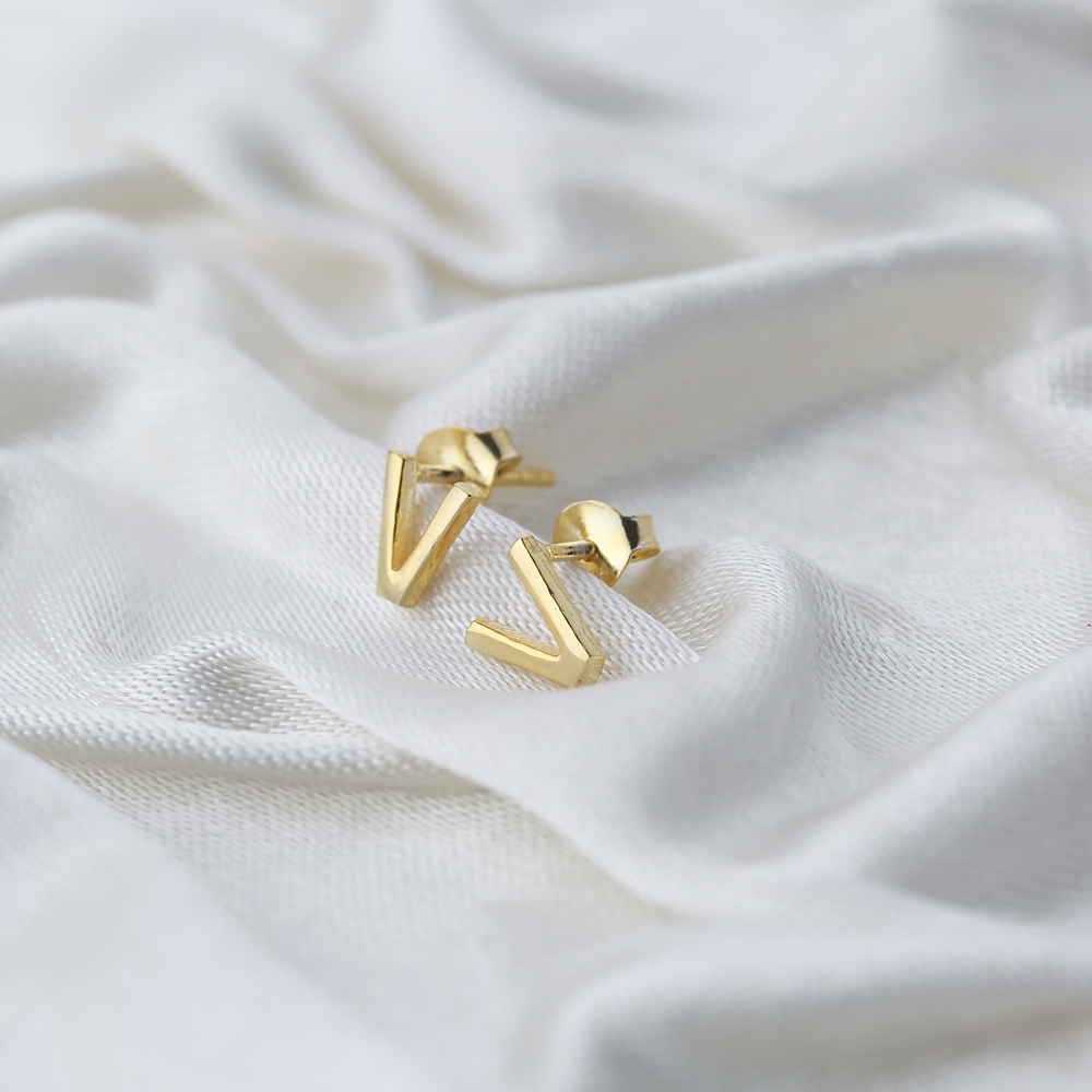 Minimalistic Initial Alphabet letter V Stud Earring Wholesale 925 Sterling Silver Jewelry