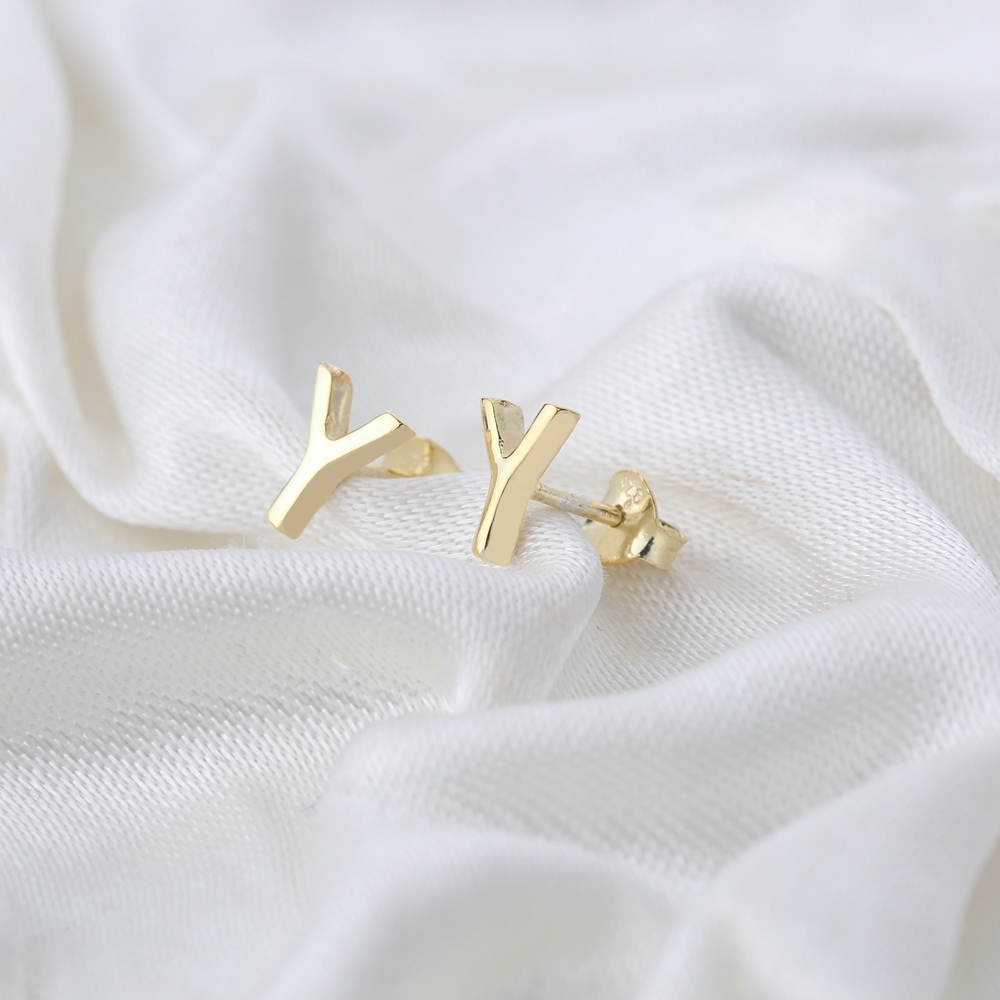 Minimalistic Initial Alphabet letter Y Stud Earring Wholesale 925 Sterling Silver Jewelry