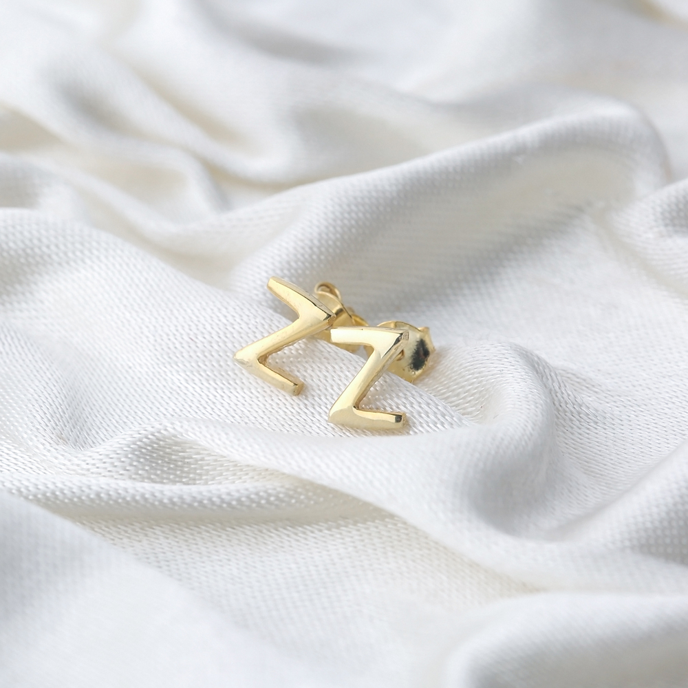 Minimalistic Initial Alphabet letter Z Stud Earring Wholesale 925 Sterling Silver Jewelry