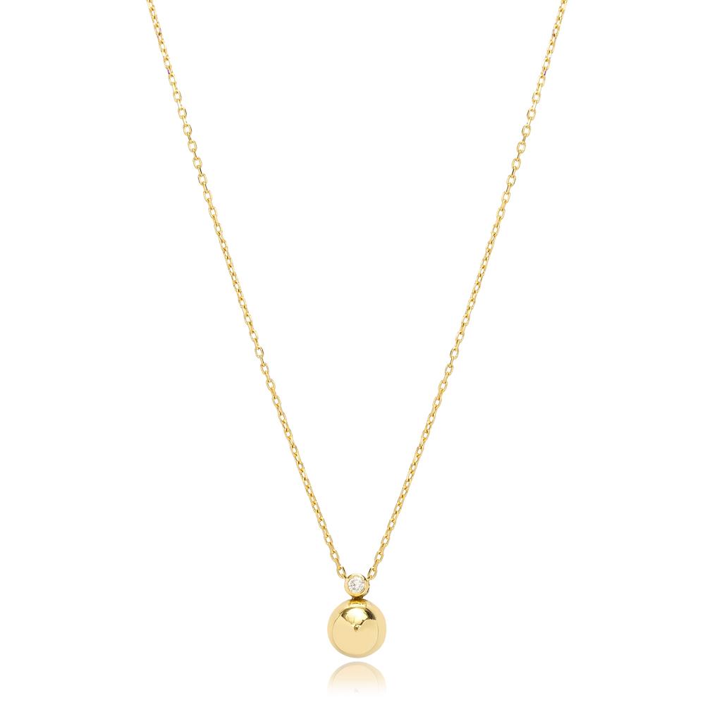 Shiny Ball Charm Zircon Stone Design Pendant Wholesale Turkish 925 Sterling Silver Necklace Jewelry