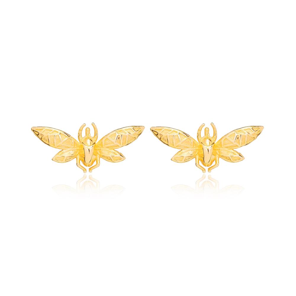 Fly Design Stud Earring Turkish Wholesale Handmade 925 Sterling Silver Jewelry