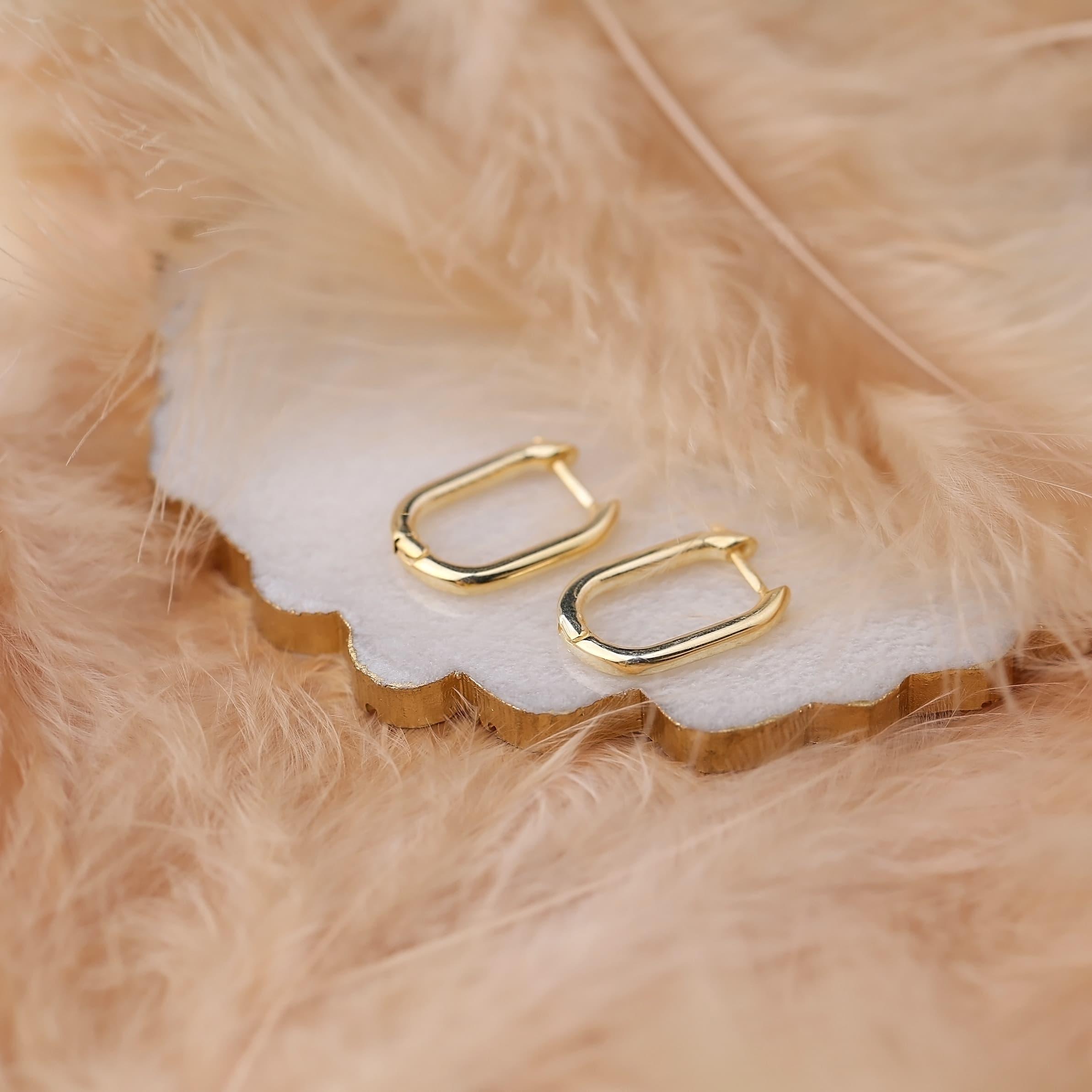 Silver Elegant Oval Hoop Earrings Wholesale Turkish Handmade 925 Sterling Silver Jewelry