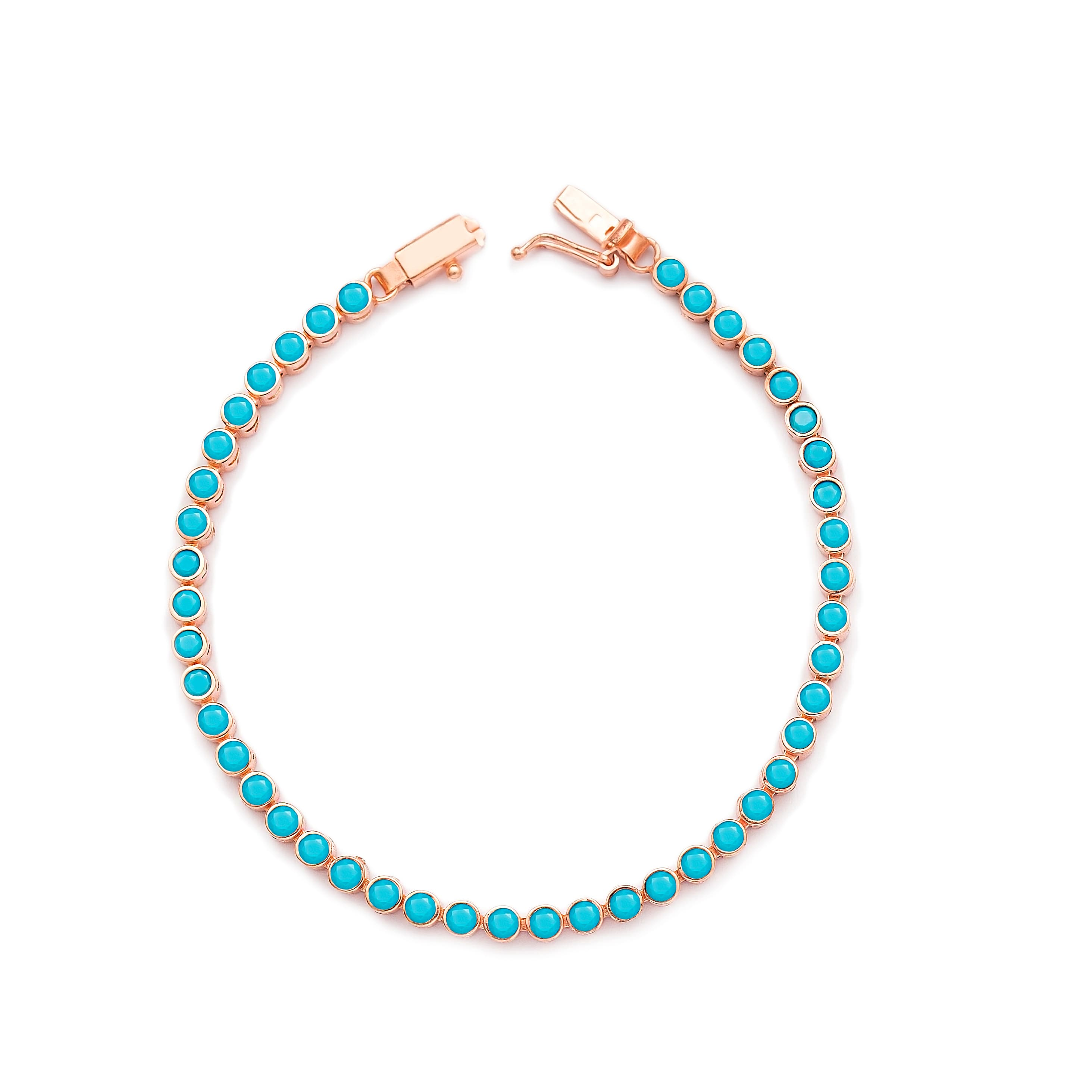 Ø2.5 mm Turquoise Stone Tennis Bracelet Turkish Handcrafted Wholesale 925 Sterling Silver Jewelry