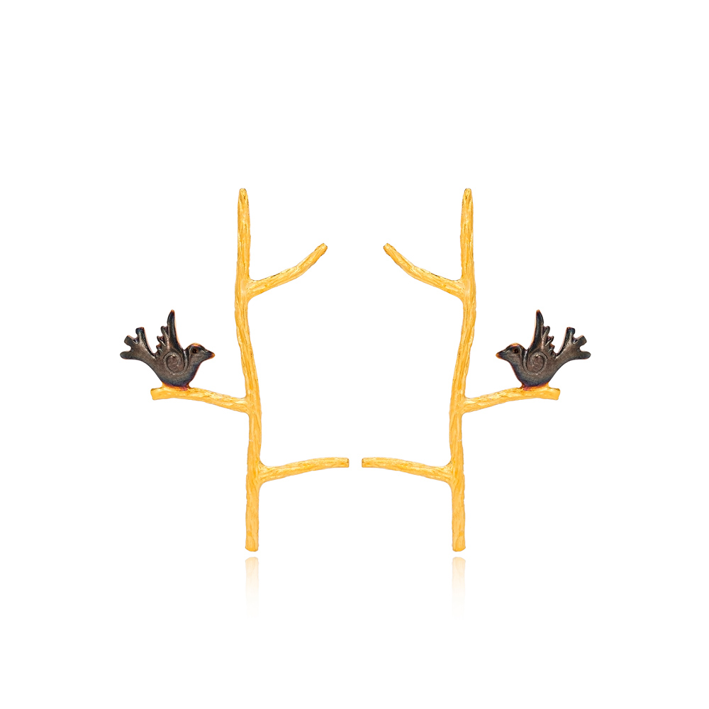 Silver 22k Gold Plated Bird On Branch Design Stud Earrings Handcrafted Wholesale 925 Sterling Silver Jewelry