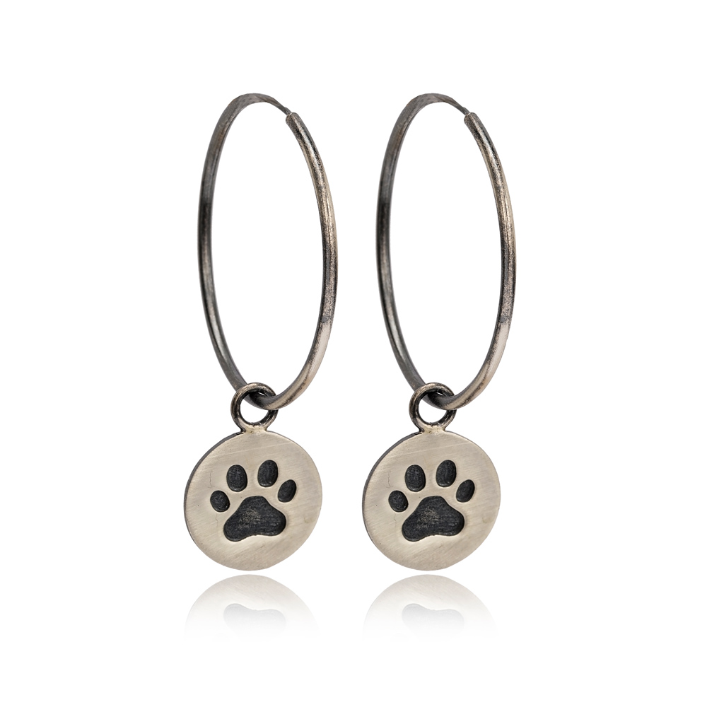 Paw Print Charm Design Ø30mm Hoop Earrings Handcrafted Wholesale 925 Sterling Silver Jewelry