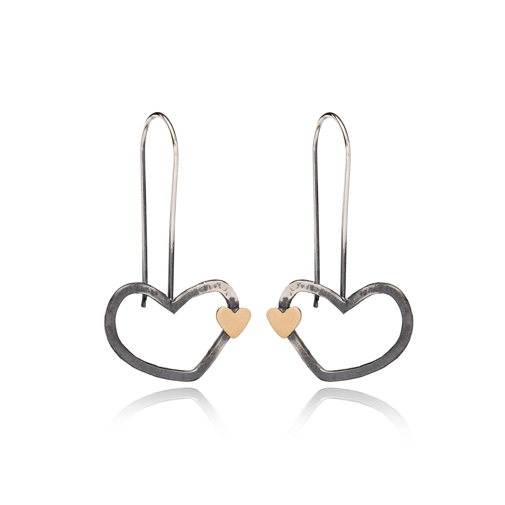 Lovely Hearts Design Vintage Earrings Handcrafted Wholesale 925 Sterling Silver Jewelry