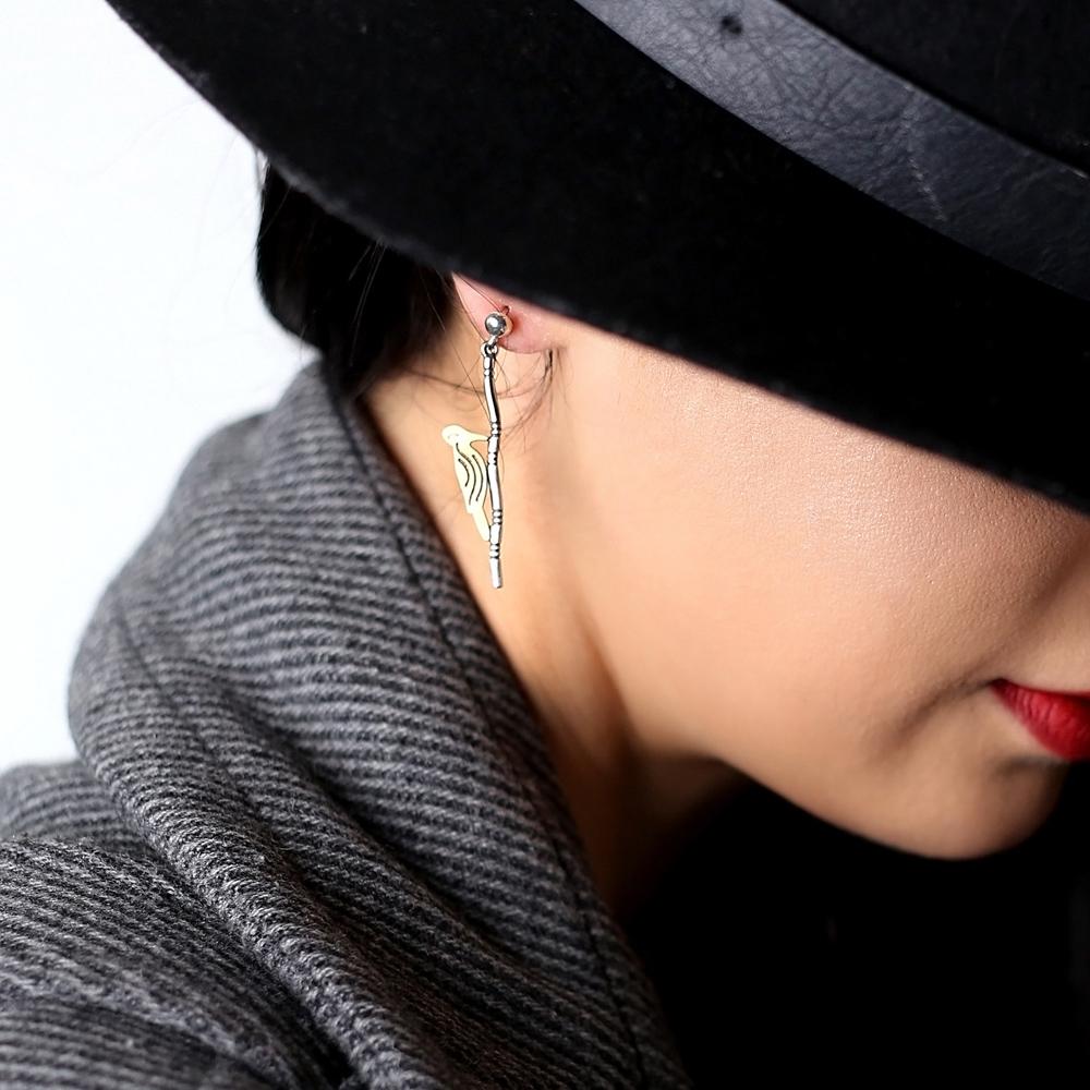 Woodpecker Design Vintage Stud Earrings Handcrafted Wholesale 925 Sterling Silver Jewelry