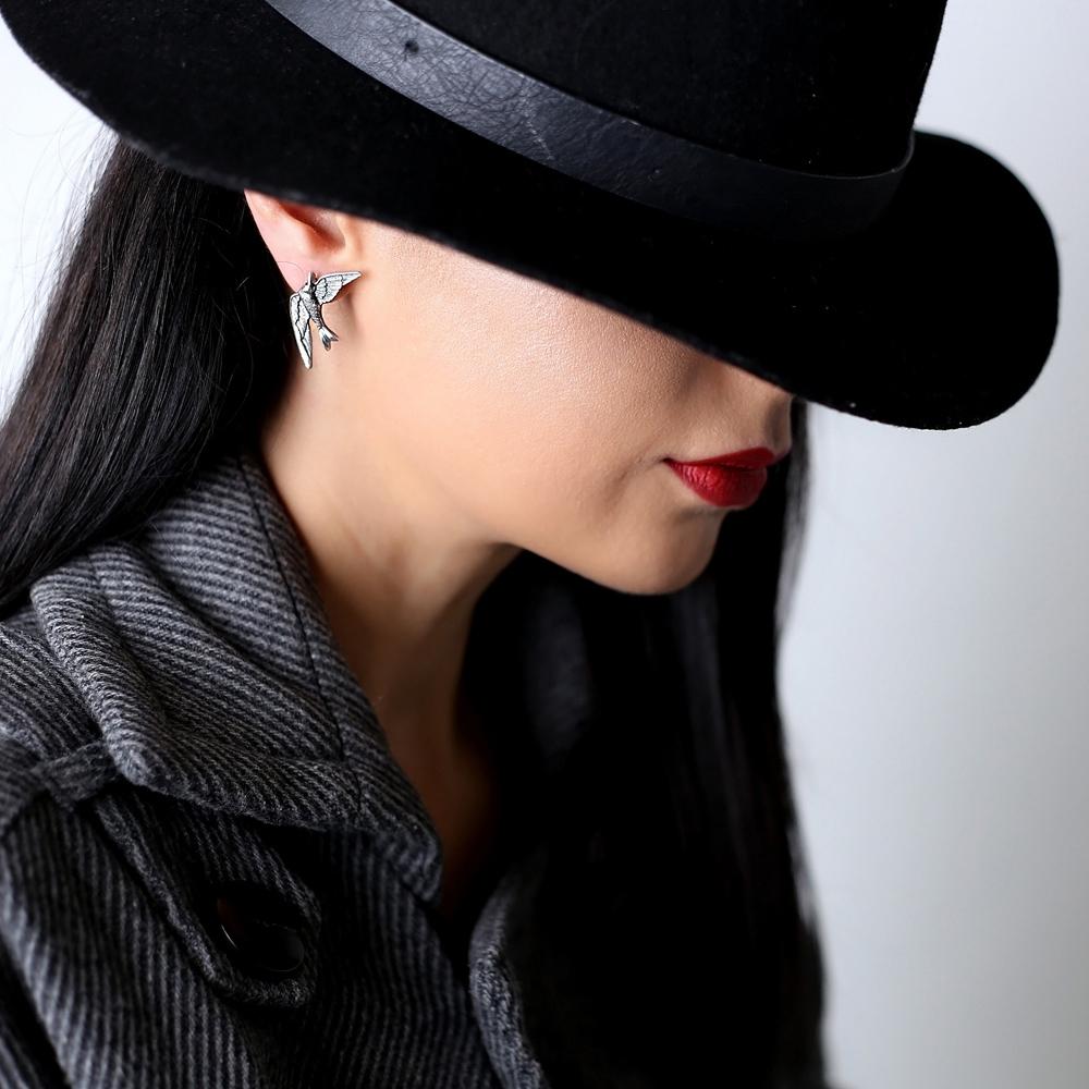 Swallow Bird Design Vintage Stud Earrings Handcrafted Wholesale 925 Sterling Silver Jewelry