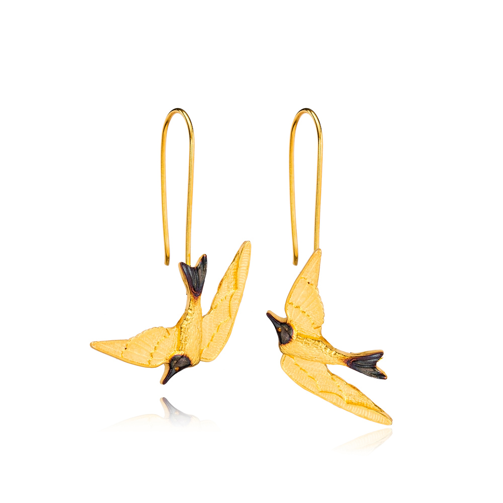 22K Gold Plated Silver Swallow Bird Earrings Handcrafted 925 Sterling Silver Jewelry