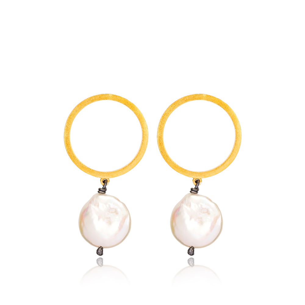 22K Gold Plated Silver Trendy Cultured Pearl Earring Handcrafted Wholesale Jewelry