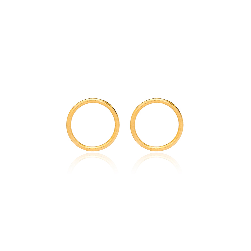 22K Gold Plated Silver Minimalistic Hollow Design Vintage Stud Earring Handcrafted Wholesale 925 Sterling Silver Jewelry