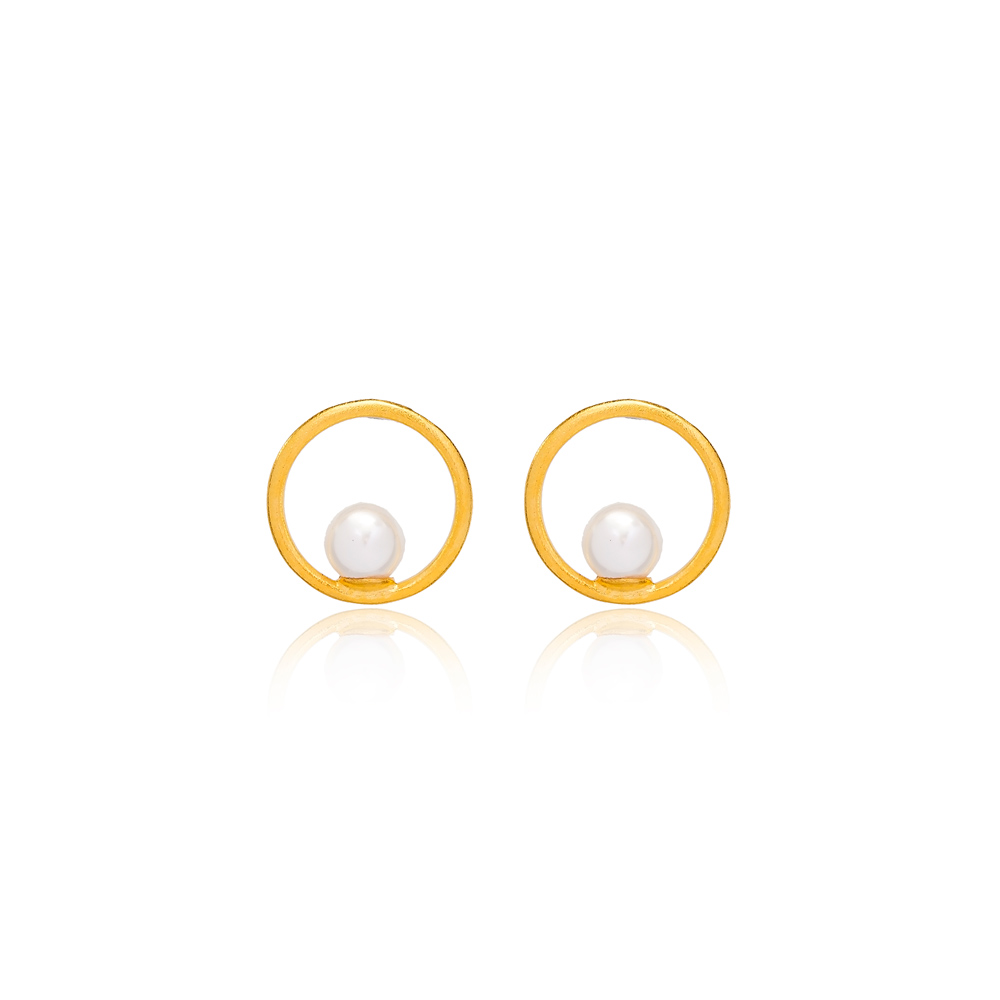 22K Gold Plated Silver Mallorca Pearl Hollow Design Vintage Stud Earring Handcrafted Wholesale 925 Sterling Silver Jewelry