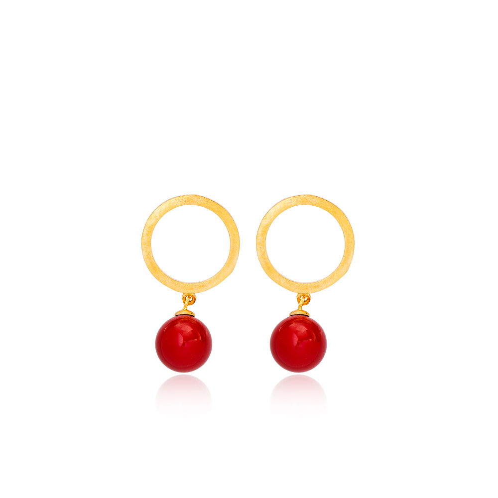 22K Gold Plated Coral Charm Stud Earring Handcrafted Wholesale 925 Sterling Silver Jewelry