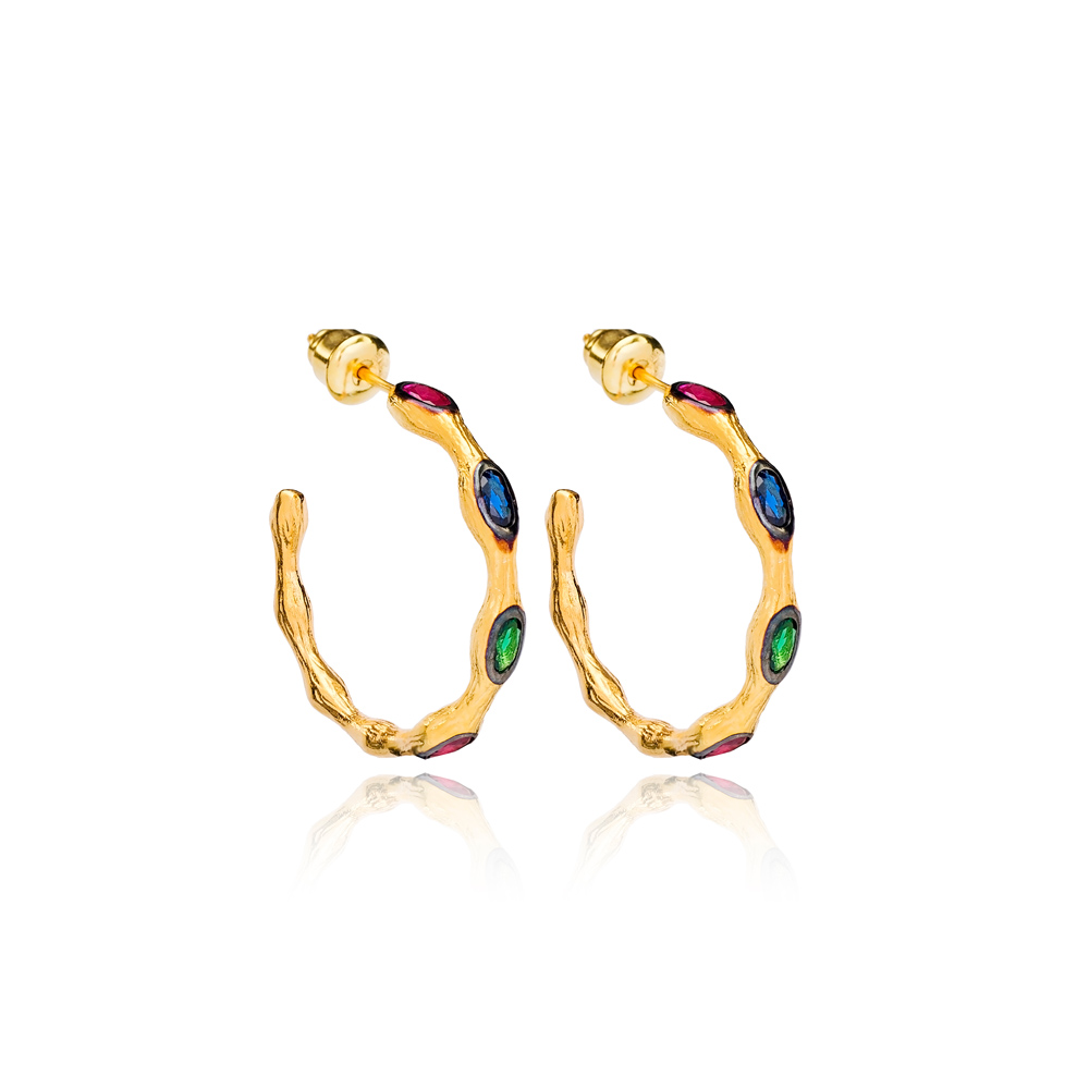22K Gold Plated Push Back Colorful Stone Earrings Handmade Wholesale 925 Sterling Silver Jewelry