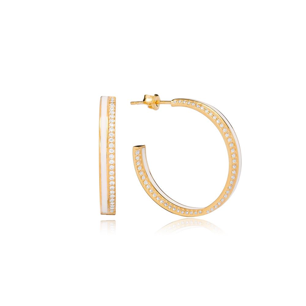 White Enamel Zircon Stone Push Back Ø28mm Hoop Earrings Turkish Wholesale Silver Jewelry