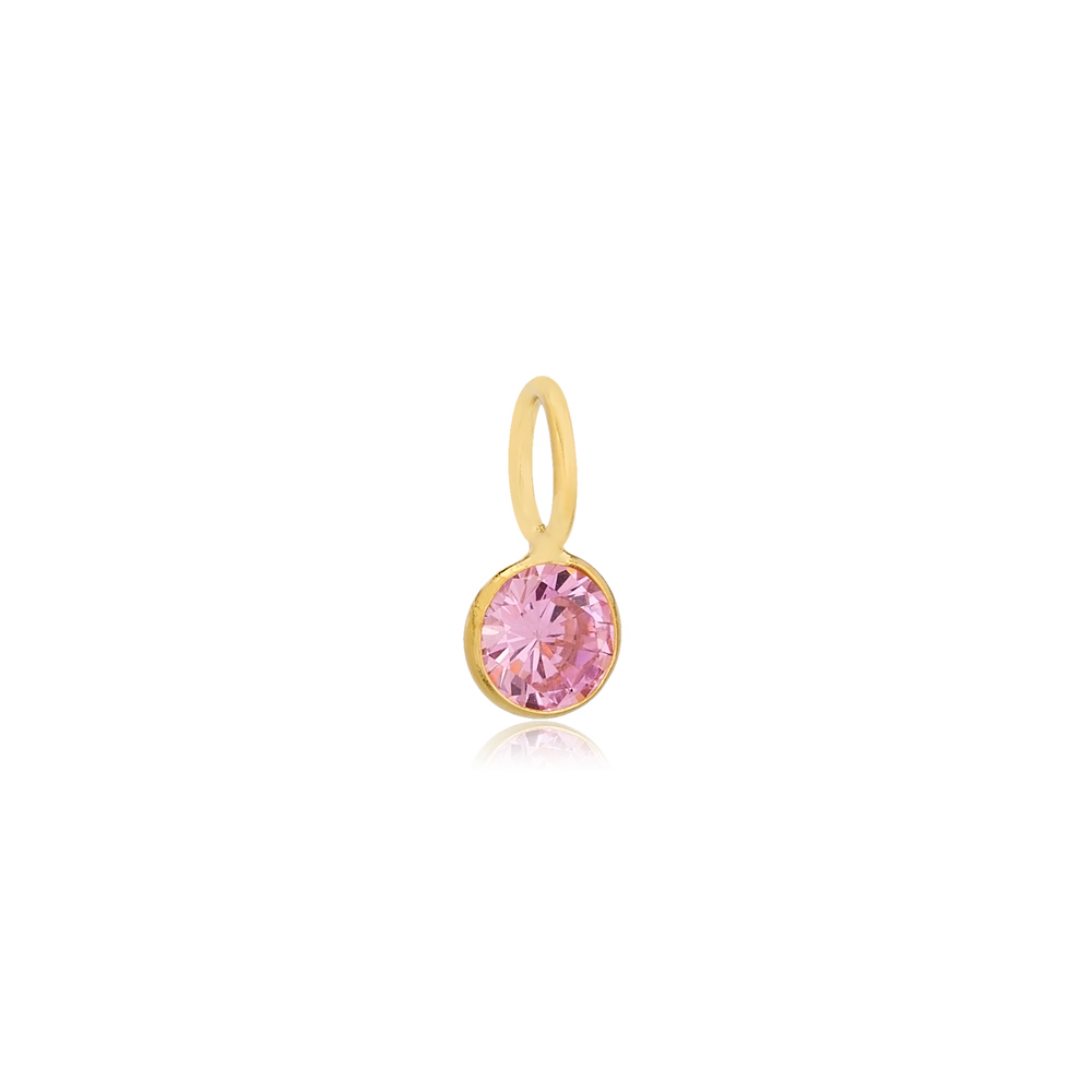 October Birthstone Pink Tourmaline Charm Wholesale Handmade Turkish 925 Silver Sterling Jewelry