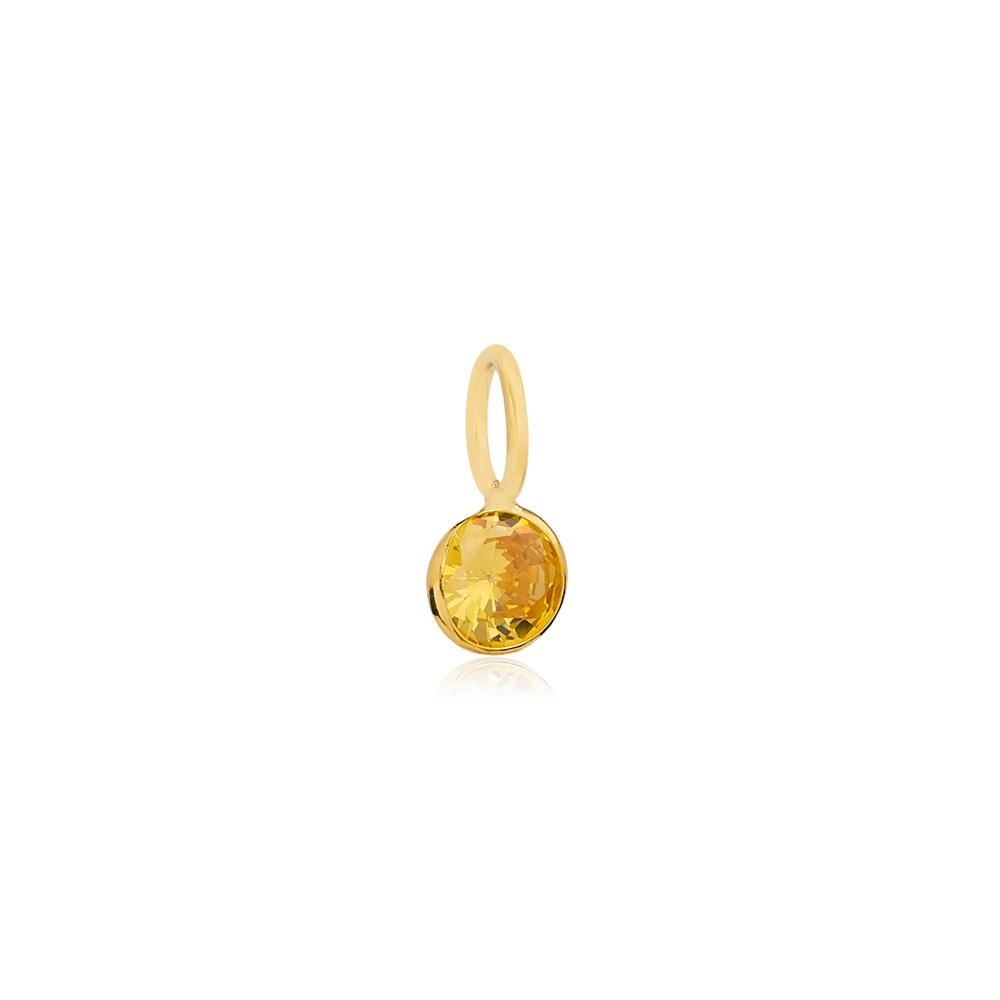 November Birthstone Citrine Charm Wholesale Handmade Turkish 925 Silver Sterling Jewelry