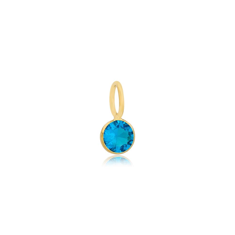 December Birthstone Blue Zircon Charm Wholesale Handmade Turkish 925 Silver Sterling Jewelry