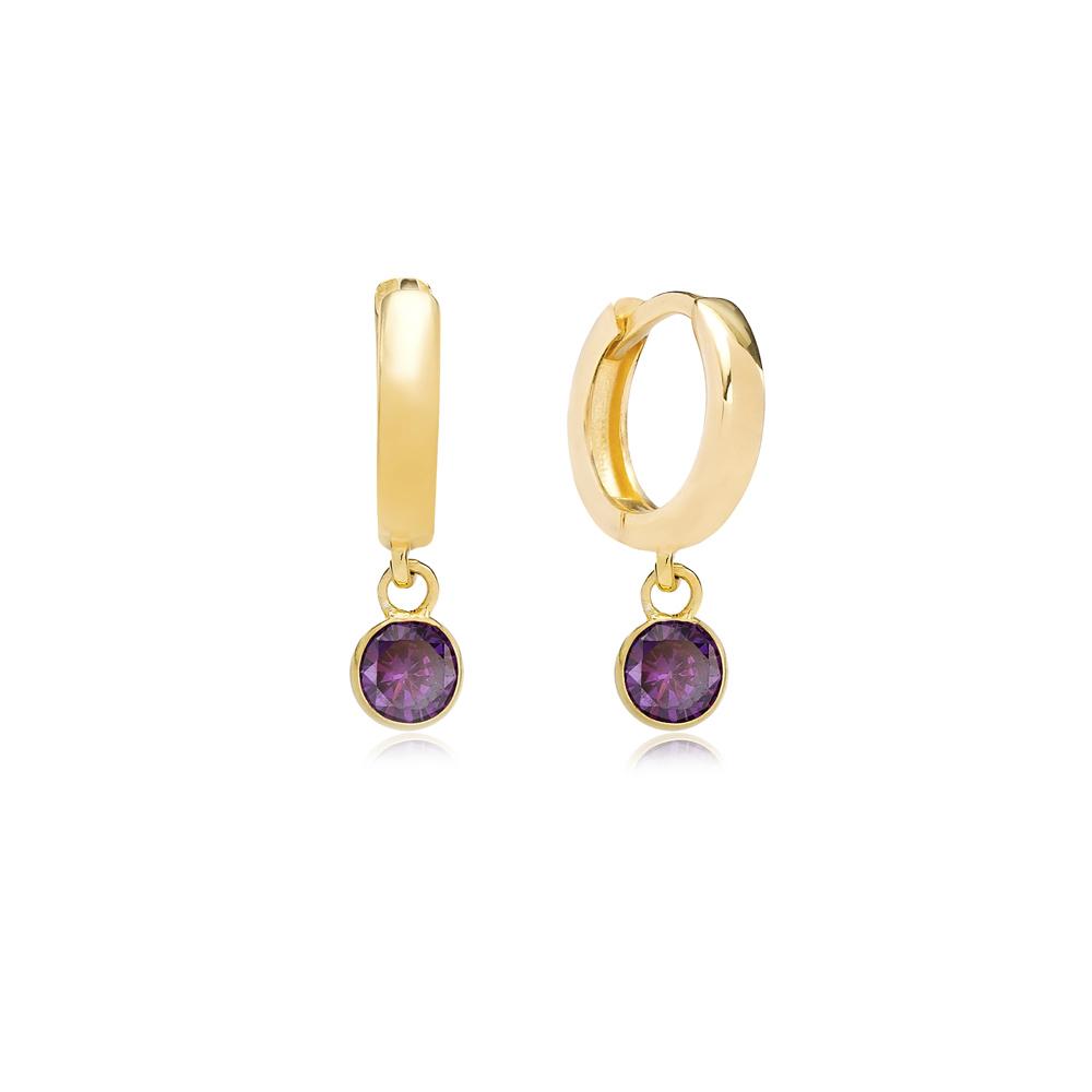 February Birthstone Amethyst Charm Earrings Wholesale Turkish 925 Silver Sterling Jewelry
