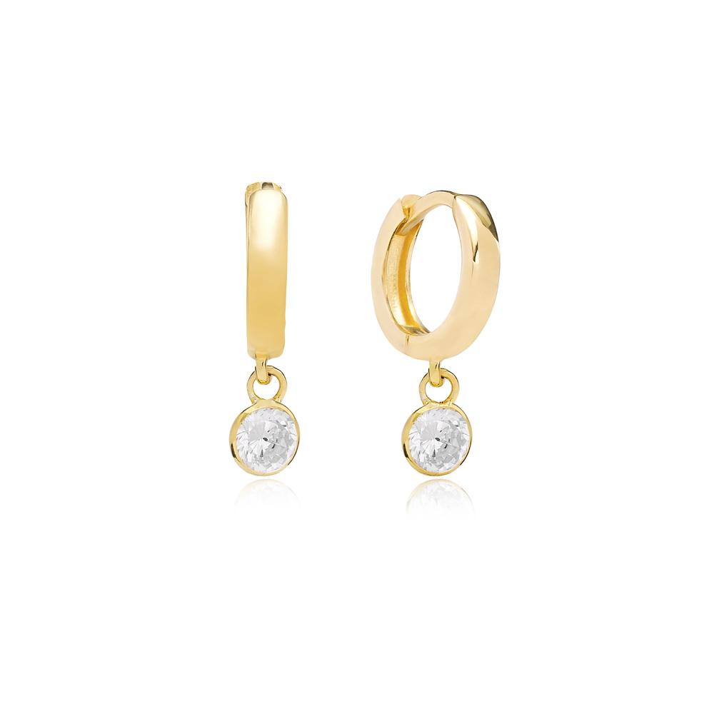 April Birthstone Zircon Charm Earrings Wholesale Turkish 925 Silver Sterling Jewelry