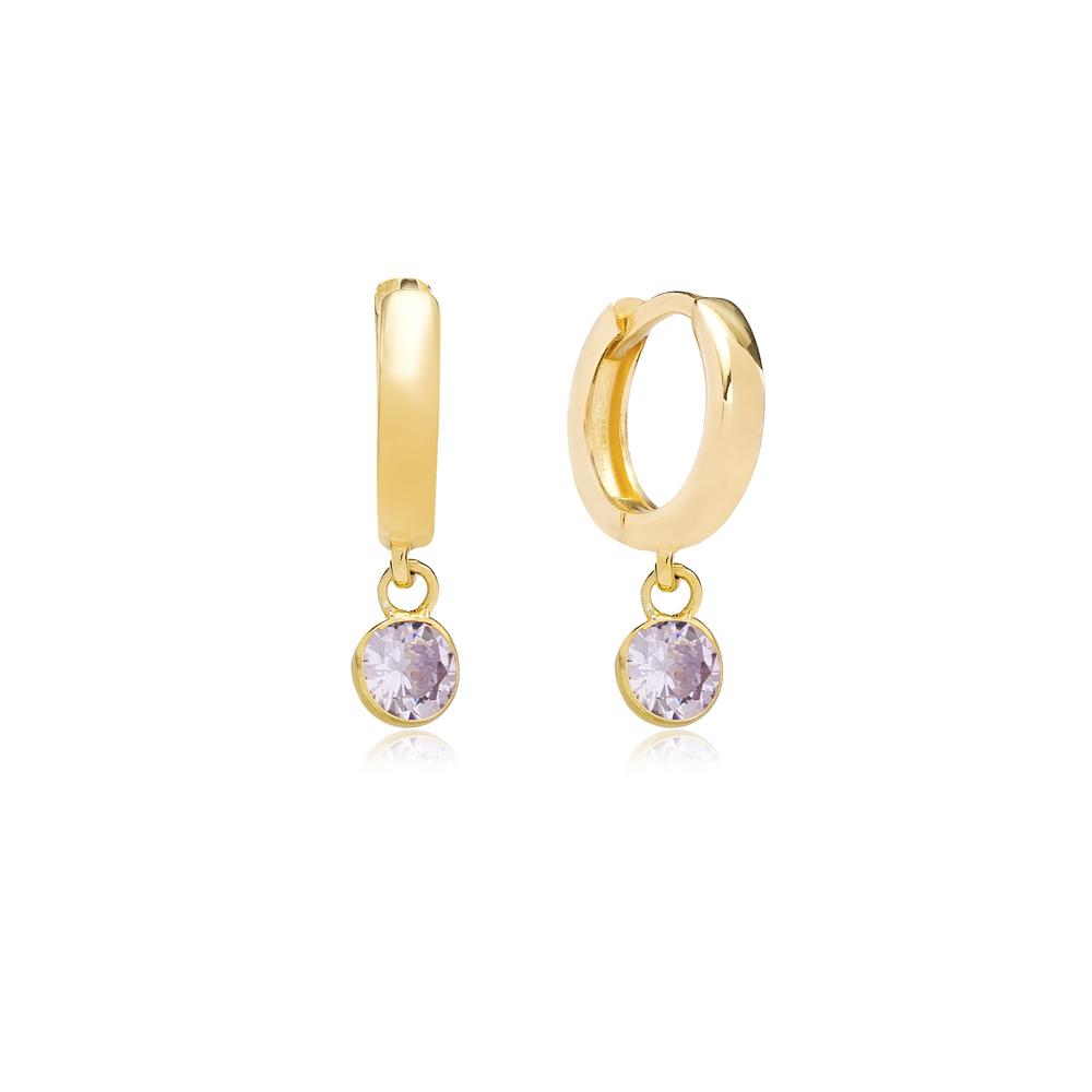 June Birthstone Aquamarine Charm Earrings Wholesale Turkish 925 Silver Sterling Jewelry
