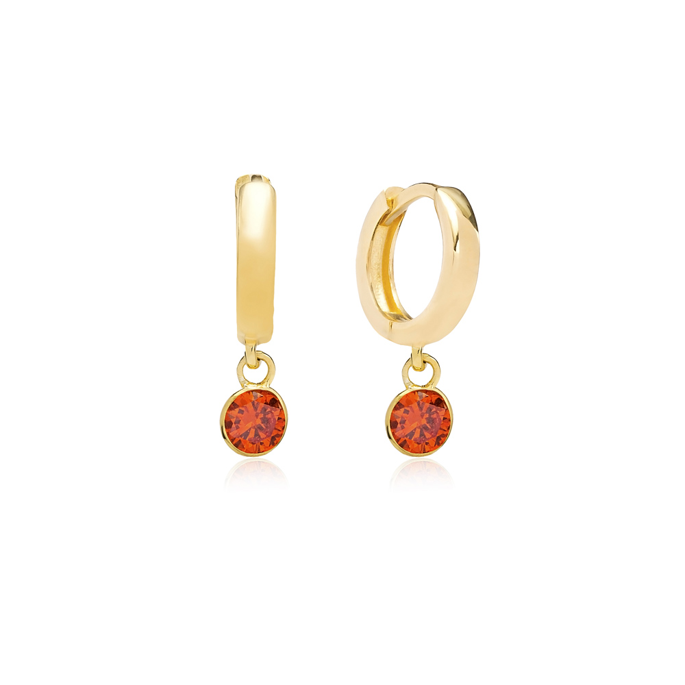 July Birthstone Orange Quartz Charm Earrings Wholesale Turkish 925 Silver Sterling Jewelry