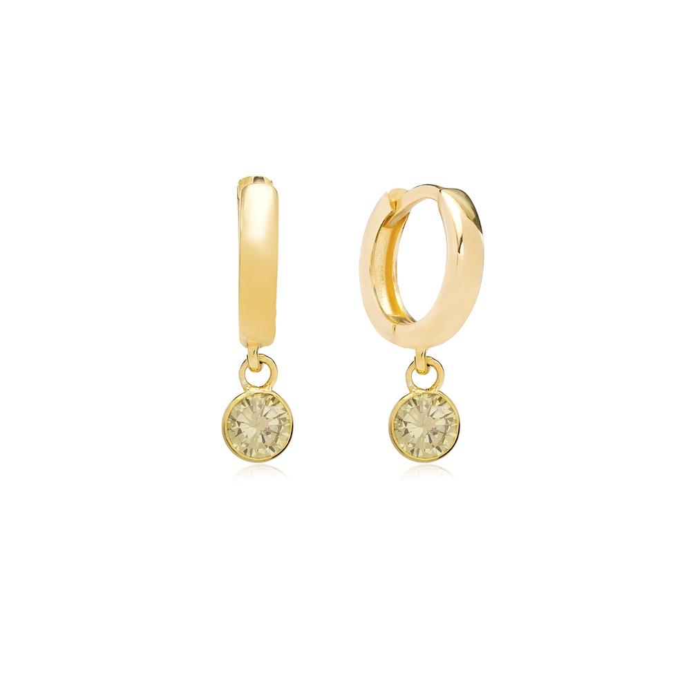 August Birthstone Peridot Charm Earrings Wholesale Turkish 925 Silver Sterling Jewelry