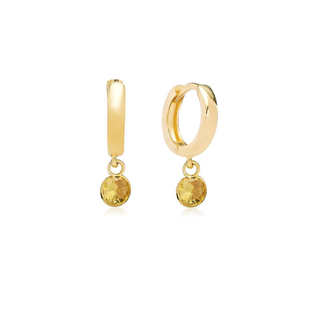 November Birthstone Citrine Charm Earrings Wholesale Turkish 925 Silver Sterling Jewelry