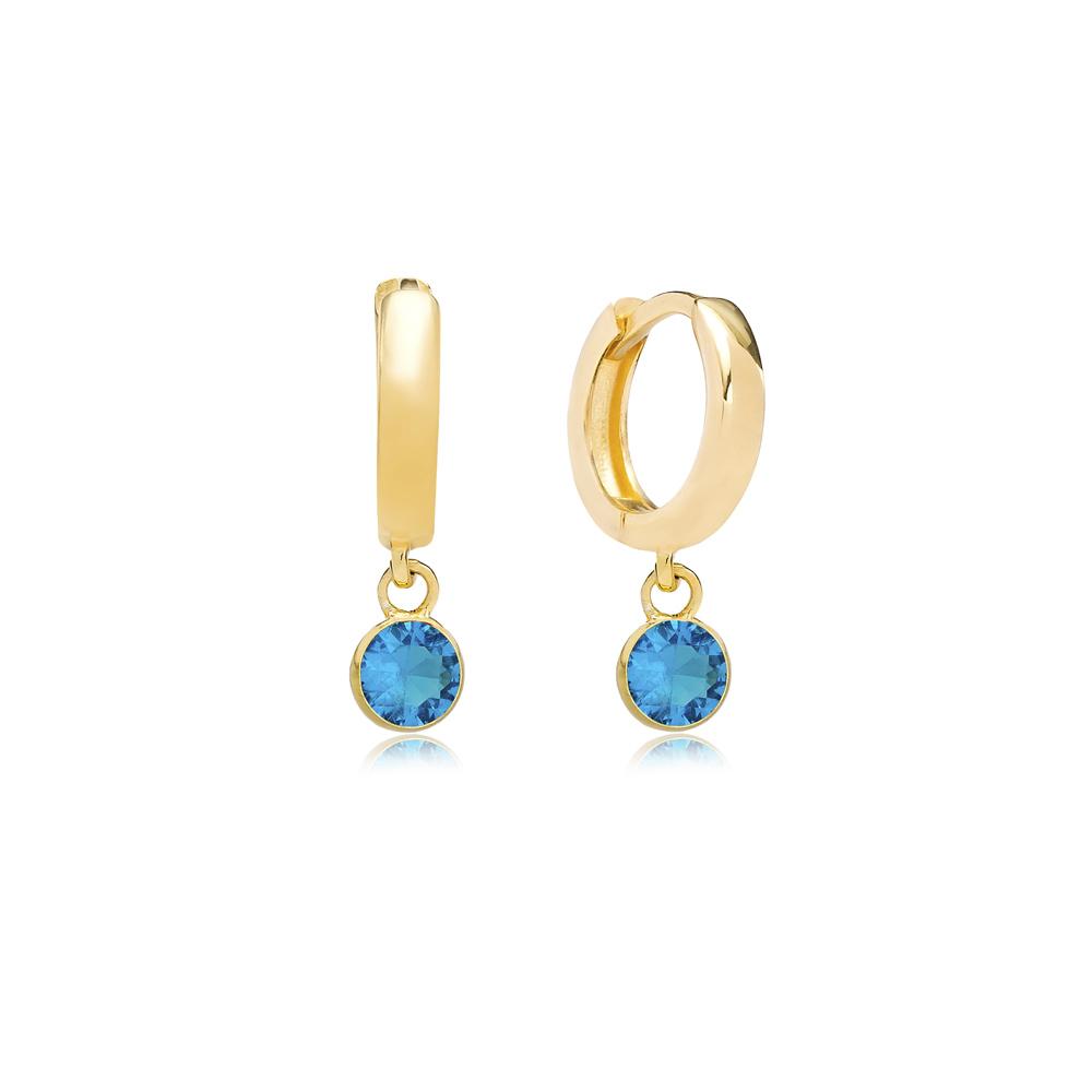 December Birthstone Blue Zircon Charm Earrings Wholesale Turkish 925 Silver Sterling Jewelry
