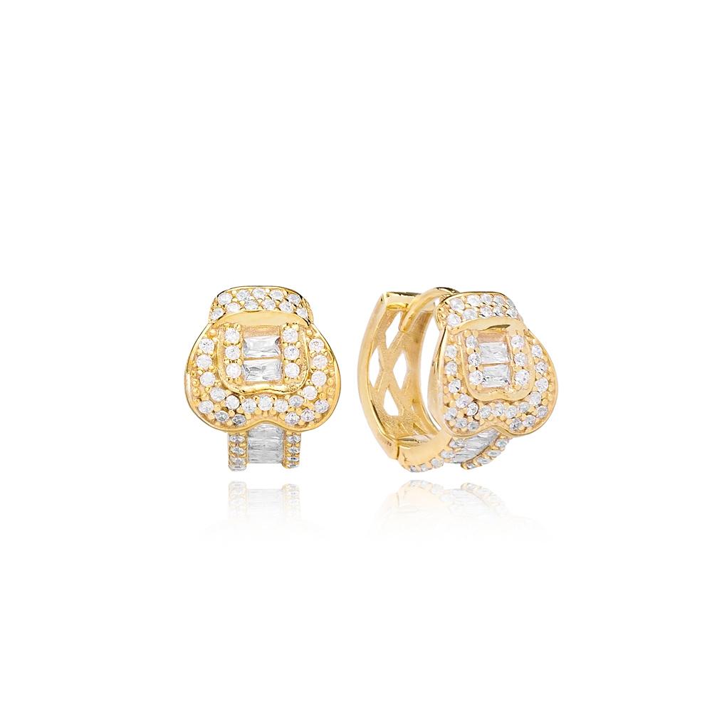 Belt Buckle Hoop Earrings Turkish Wholesale Handmade 925 Sterling Silver Jewelry