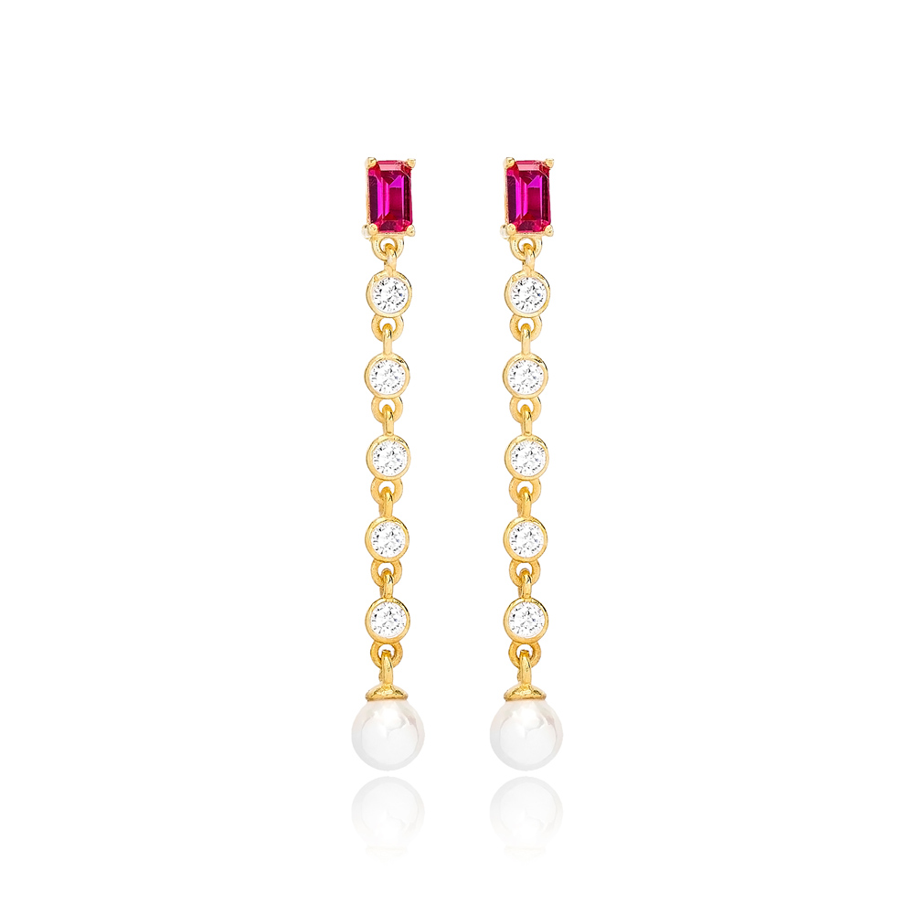 Ruby Stone Elegant Pearl  Earrings Turkish Wholesale Handmade 925 Sterling Silver Jewelry