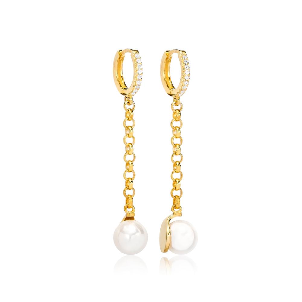 Dainty Pearl Charm Dangle Earrings Turkish Wholesale 925 Sterling Silver Jewellery