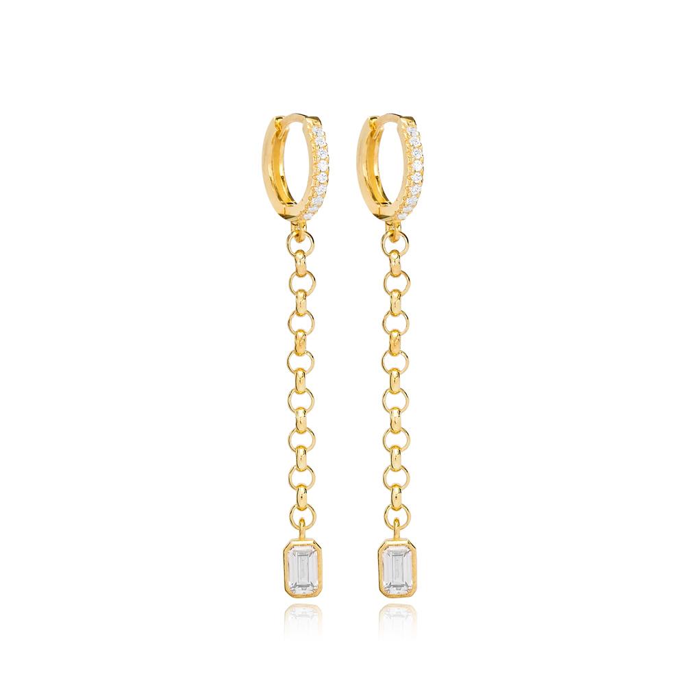 Nice Zircon Stone Charm Dangle Earrings Handmade Wholesale 925 Sterling Silver Jewelry