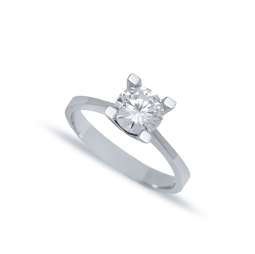 Four Square Claw Solitaire Engagement Ring Wholesale Turkish 925 Sterling Silver Jewelry