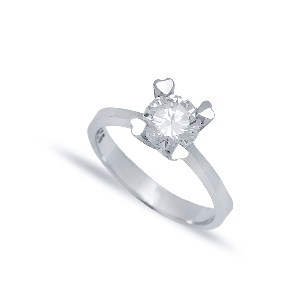 Four Heart Claw Solitaire Engagement Ring Wholesale Turkish 925 Sterling Silver Jewelry